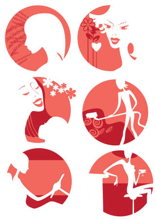 A set of six icons with images of two types of women Vector
