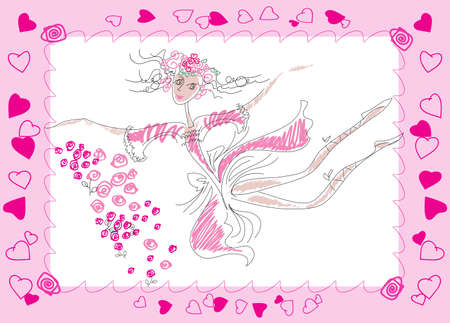 A dancing fairy in a pink dress and a wreath of roses Vector