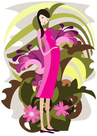 Exaggerated figure of a young pregnant woman among the flowers Vector