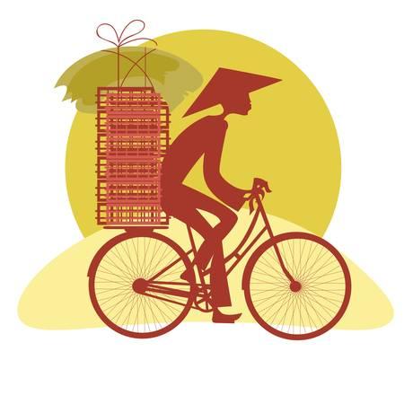 asian culture: Vietnamita Silhouette che portano le merci in bicicletta