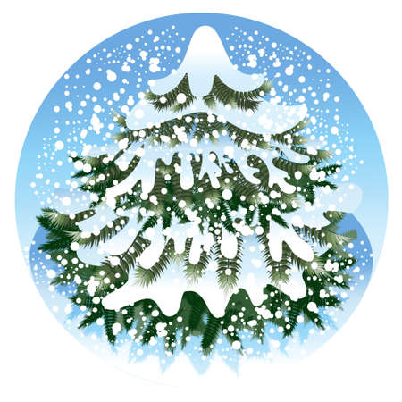 Beautiful spruce is in the forest under snow Vector