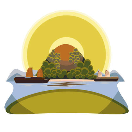 Decorative image of tropical islands and the Vietnamese boat at sunset Illustration