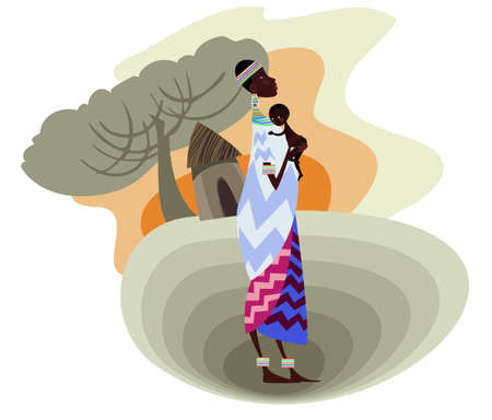 african village: A young African mother with her baby Illustration