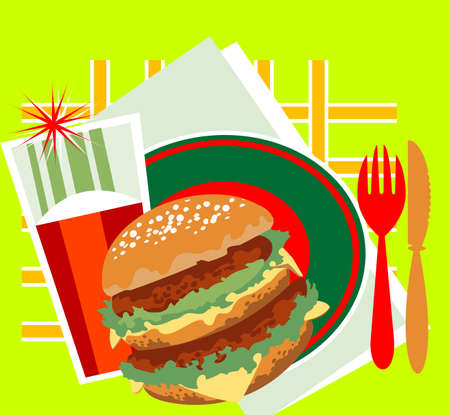 Decorative image of a great burger, a glass of juice and cutlery