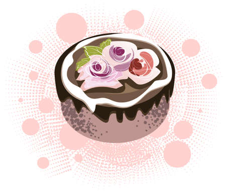Chocolate cake decorated with decorative roses out of butter cream Illustration