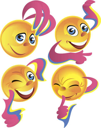 multiple image:  Four yellow Smileys expressing different positive emotions Illustration