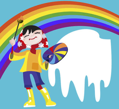 The little girl - artist draws a rainbow brush and paints Vector