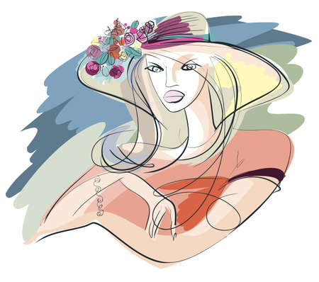 Portrait of a young woman in summer straw hat adorned with a bouquet of roses Vector