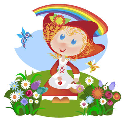 Little Red Riding Hood is on fun glade among the wildflowers Vector