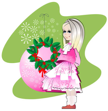 Girl in a smart pink dress on a background of decorative ball and Christmas wreath Stock Vector - 15237478