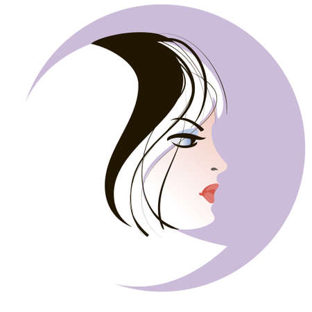 womanish: Stylized portrait of a blonde young woman in profile against a circle