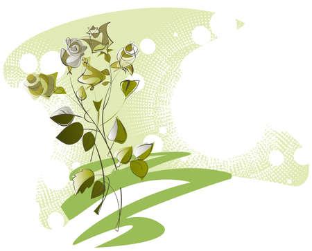gele rozen: schetsen een boeket van gele rozen op de decoratieve achtergrond