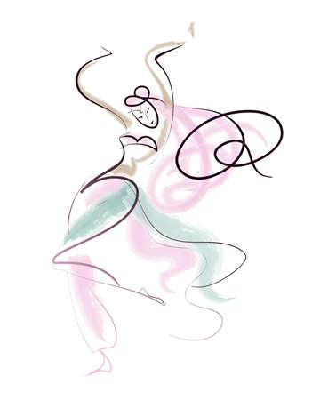 buikdansen: geïsoleerde lijntekening oriëntaalse dans performer in beweging Stock Illustratie