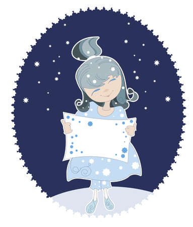 Little Snow Maiden in the blue dress Vector