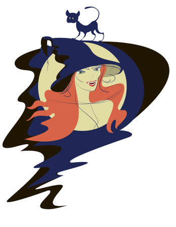 Face of a young witch in a black hat and her black cat