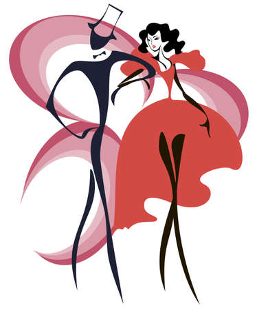 party silhouettes: sketch of a dancing couple  Illustration