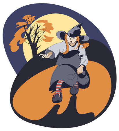 Running girl in witch costume on a background of yellow moon Illustration