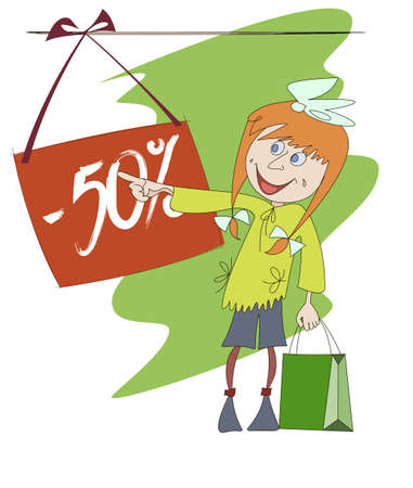 Funny image of a shopping  girl in the background of the banner Vector