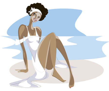 Brazilian girl in white dress sitting on sand at the sea Vector