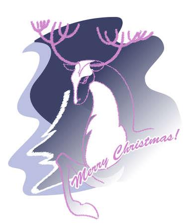 Image of a deer head on a Christmas card Stock Vector - 16268829