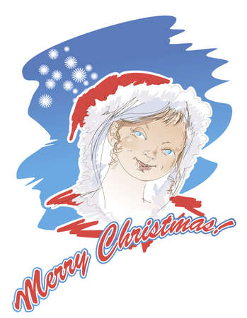 Portrait of a Snow Maiden on a Christmas card in retro - style