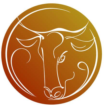toro: Contour l'immagine di una testa di toro sul segno zodiacale Toro