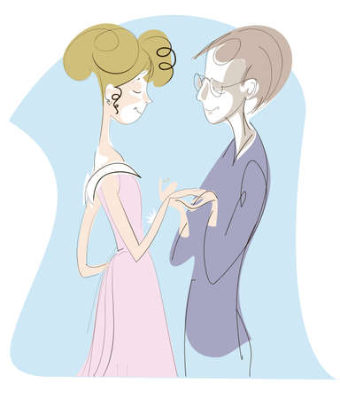 The young man makes a proposal a girl and gives her an engagement ring Stock Vector - 16268723