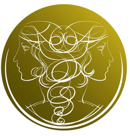 Two profiles of female on the zodiac sign Gemini Stock Vector - 16268720