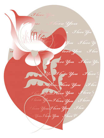 Decorative image of the heart and a flower for a card for Valentine's Day Stock Vector - 16268826