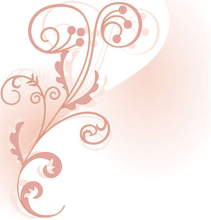 Pink floral corner piece on the background of two intersecting planes Illustration