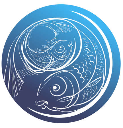 Contour image of two fish on a blue circle for Pisces Illustration