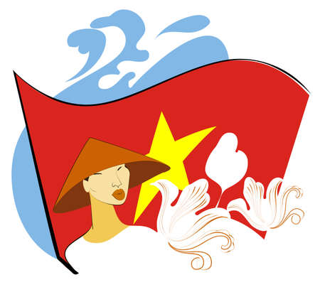 Image of Vietnamese in the wide-brimmed hat on the background of the national flag