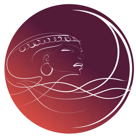 Image of a female head on the zodiac sign of Virgo Vector