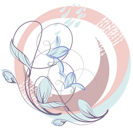 Flower wreath with pink flowers, leaves and drops Stock Vector - 16449663
