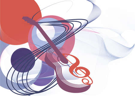 Abstract musical background with isolated guitar and a treble clef