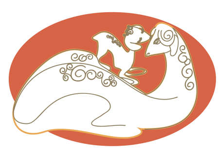Romantic vector drawing of the sheep and her little cub Stock Vector - 16449661