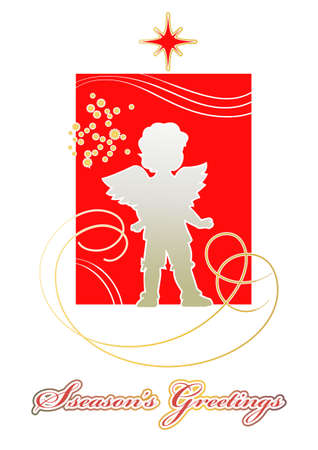 Golden silhouette of the little angel on a scarlet background for Christmas card Stock Vector - 16721545