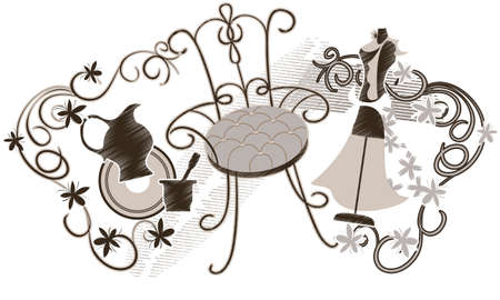 Set of vintage items: an old chair, a womans dress on a mannequin, silhouette jug and  decorative garland of flowers Vector