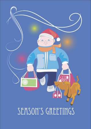 A man and his dachshund carry bags with Christmas presents Illustration