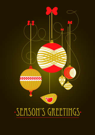 Christmas decorations and lights on a dark background for postcard Stock Vector - 16721550