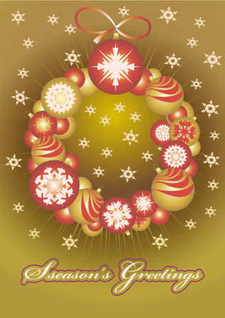 Christmas gold balls on a gold  background for card Vector