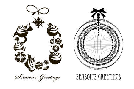 Black - white image of two Christmas wreaths Illustration
