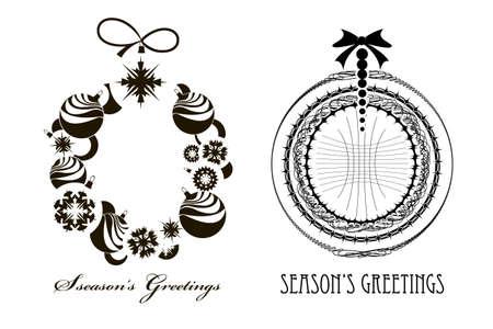 bomen zwart wit: Zwart - wit beeld van twee kerstkransen