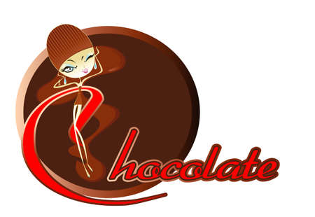 Image comic figure girl and text in the background of chocolate bar Vector