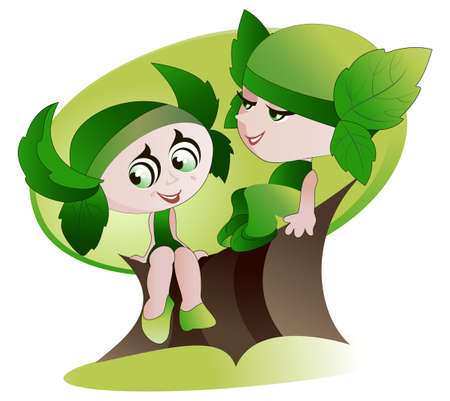 gnomes: Two cheerful gnomes sitting on a branch of the big old green tree