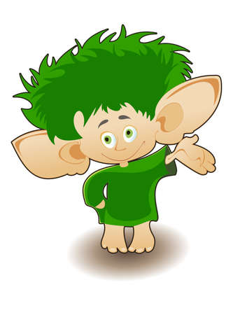 solated picture of a small gnome with a mop of green hair on his head on a white background