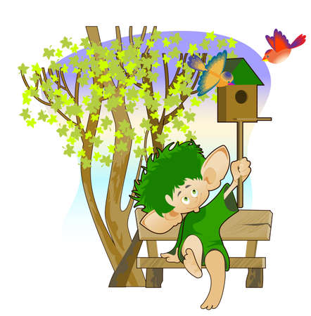 Little leprechaun sitting on a bench under a tree and holds a birdhouse in his hand Illustration