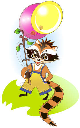Little raccoon holding bright balloons in his hand Stock Vector - 17179817