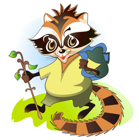 Raccoon goes on a forest road and carries his backpack behind Stock Vector - 17179811