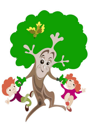 Animated image of a tree, which plays with two young children Illustration
